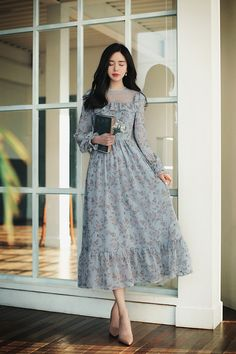 Simple Dresses, Cute Dresses, Beautiful Dresses, Casual Dresses, Ulzzang Fashion, Asian Fashion, Hijab Fashion, Vestidos Vintage, Vintage Dresses
