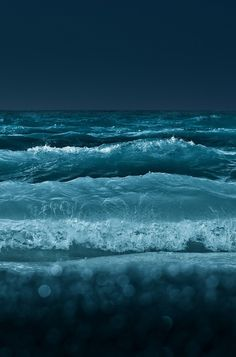 Night Waves the blue sea, nature photography blvkkiss Sea And Ocean, Ocean Beach, Ocean Waves, Ocean Deep, Big Waves, Black Ocean, Beach Bath, Beach Waves, Deep Sea