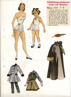 Lena and Birgitta paper dolls, 1954