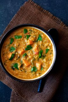 Thai Red Curry Sweet Potato and Lentil Soup is comfort and warmth in a hurry.  Find this and other simply great recipes at From A Chef's Kitchen