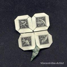 Dollar Bill Origami 4 LEAF CLOVER