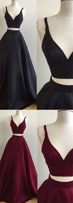 Simple Black Burgundy Satins V-neck Two Pieces A-line Prom Dresses Warehouse Sales On Designer Clothes 90% OFF. Free Shipping On All Products at