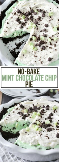:o le dessert classique de noël dans ma famille.this easy No-Bake Mint Chocolate Chip Pie is made with a Oreo crust, filled with a mint chocolate chip filling and topped with a whipped peppermint topping. Mint Desserts, No Bake Desserts, Easy Desserts, Delicious Desserts, Dessert Recipes, Yummy Food, Baking Desserts, Cake Recipes, Brownie Recipes