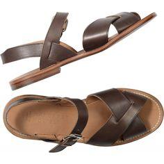 FLAT SANDAL ($445) ❤ liked on Polyvore featuring shoes, sandals, flats, обувь, flat heel shoes, flats sandals, leather sandals, real leather shoes and flat pumps