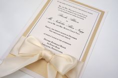 gold champange invitation | Gold Ivory & Champagne Classic Ribbon and Bow Wedding Invitations ...