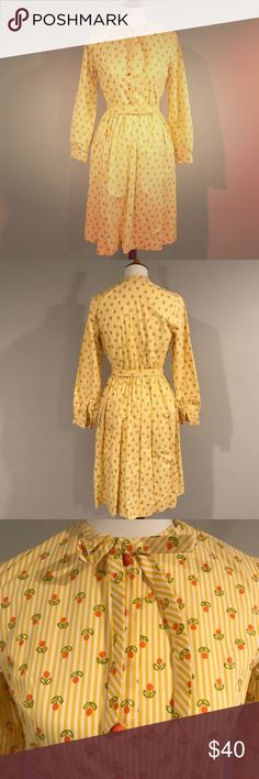 Vintage Button Down Dress Adorable yellow and striped vintage dress with little flowers on the print, comes with a matching belt, Wes Anderson/Felicity Fox vibes Vintage Dresses
