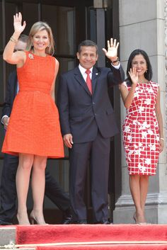 Her majesty Queen Maxima with Peru's Presideny and First Lady on her final day of her tour as UN Advocate for Financial Inclusion 3/7/2014
