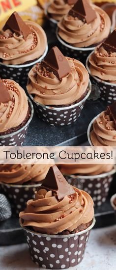 Delicious and Chocolatey Toblerone Cupcakes with Toblerone Chunk Sponges, Toblerone Buttercream Frosting, and Toblerone on top! Delicious and Chocolatey Toblerone Cupcakes with Toblerone Chunk Sponges, Toblerone Buttercream Frosting, and Toblerone on top! Cupcake Recipes, Baking Recipes, Cupcake Cakes, Dessert Recipes, Lemon Cupcakes, Strawberry Cupcakes, Janes Patisserie, Small Cake, Panettone