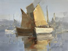 Artist: Vahe Yeremyan Work: Original oil Painting, Handmade artwork, One of a Kind Medium: Oil on Canvas Year: 2017 Subject: Sail Boats, SIZE: 10