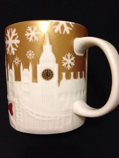 Starbucks London Relief Mug Westminster Eye Big Ben Tower Gold Christmas US Ship #Starbucks