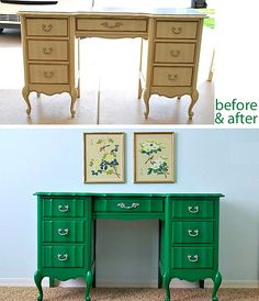 decorations  painted desk makeover 10 Inspiring Furniture Makeovers