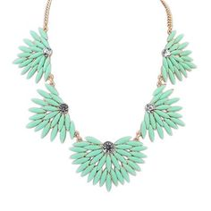 Misses Light Green Candy Color Leaves Temperament Design Alloy Korean #Necklaces  www.asujewelry.com