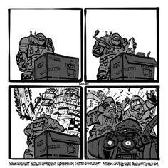 "ruoyuart: "" This week's sketch: Engineering. "" Engineering by Ruo Yu Chen Warhammer 40k Memes, Warhammer 40k Figures, Warhammer Art, Warhammer Fantasy, Warhammer 40000, Orks 40k, Warhammer Imperial Guard, Stupid Funny Memes, Dnd Funny"