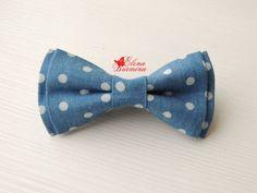 Купить Бабочка галстук джинсовая в горох - голубой, в горошек, джинсовый стиль, джинс, деним, бабочка
