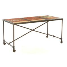Industrial furniture is at the very heart of Manhattan Loft style. This Industrial Originals Truck Metal Dining Table wouldn't look at all out of place in a rustic studio apartment in the Big Apple! #interior #ny #dining