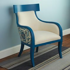 Curved Back Wooden Frame Arm Chair - 2 Colors