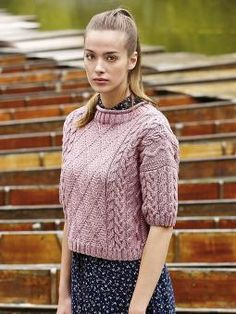 Kerrera - Knit this womens cropped cabled top from the Pure Wool Worsted Collection, designed by Martin Storey using the lovely ...