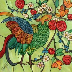 Colorful Bird Art Print Illustration  Green by VeroHappyArt, $10.00