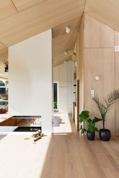 Månedens hjem er et spesielt og interessant trehus Plywood Interior, Interior Walls, Interior And Exterior, Interior Design, Plywood Wall Paneling, Plywood House, Modern Cabin Interior, White Fireplace, Cabin Interiors