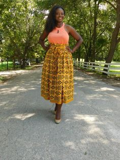 Yellow Kente Midi Skirt; African Clothing; African fashion; Yellow Skirt; Kente; African Skirt; African Print; African Clothing; Kente - pinned by pin4etsy.com