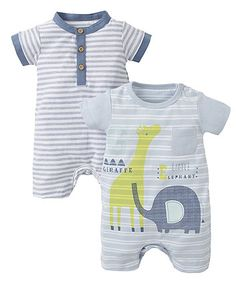 Giraffe and Stripe Rompers - 2 Pack - all in ones - Mothercare