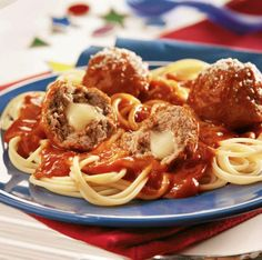 Cheese Stuffed Meatballs! Delicious http://www.yummly.com/recipe/Cheesy-stuffed-meatballs-_-spaghetti-297479