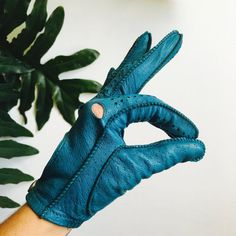 Turquoise Leather Driving Gloves