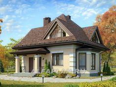 Экономичный дом для маленького участка (G22a), Alfaplan.ru Cottage Plan, Cottage Homes, House Balcony Design, House Design, House Construction Plan, Compact House, Country Style House Plans, Modern Bungalow, Loft House
