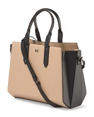 image of Leather Two Tone Wing Satchel