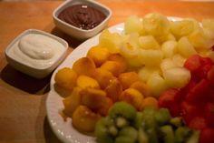 fruit with yogurt and chocolate