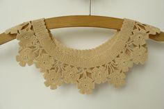 Vintage Crochet Collar with Flowers  in Beige