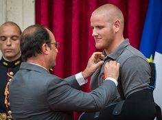 American Hero Spencer Stone receiving the Legion of Honor France's highest civilian order of merit after he and 2 friends prevented a Muslim extremist from opening fire on a train.