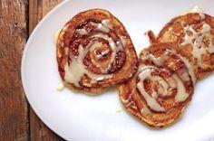 Gluten-Free Sticky Cinnamon Swirl Pancakes with Maple Icing | Silvana's Kitchen