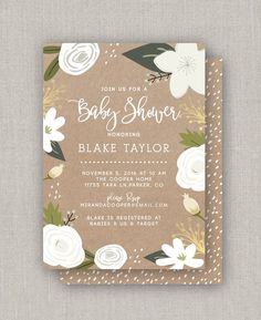 Items similar to Kraft Floral Baby Shower Invitation on Etsy Floral Baby Shower, White Envelopes, Baby Shower Invitations, Rsvp, Frame, Prints, Cards, Etsy, Frames