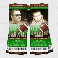 Football Ticket Invitations Birthday Party Thank You Card Any Age Print Your Own 50 Yard Line Personalized Printable Files