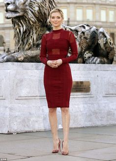 Racy in red: Rachel Riley looked gorgeous in red as she promoted a TV show in London's Trafalgar Square on Thursday