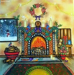 """Fireplace from Johanna Basford's coloring book """"Johanna's Christmas"""". Colored by Kelsey Everett."""