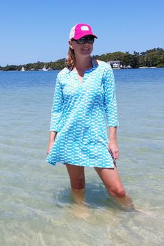 """Turquoise Tunic Dress with 3/4 Sleeves https://www.shoppinwithsailin.com/collections/dresses/products/turquoise-tunic-dress-with-3-4-sleeves?utm_content=bufferfe900&utm_medium=social&utm_source=pinterest.com&utm_campaign=buffer  Gorgeous hand painted """"Rings"""" design printed on 100% natural fibers by Donna Gorman of See Design.  Dress it up for lunch date or throw it on over your bathing suit at the beach! Loose and airy lets you breathe while wearing!  This tunic runs big.   Size: XS-0/2…"""