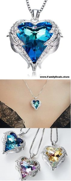 """Family Deals Necklace Select """"Oceans of Love"""" - Guardian Angel Wing Set Swarovski Crystal Heart Necklace Dainty Diamond Necklace, Leaf Necklace, Crystal Necklace, Magical Jewelry, Disney Jewelry, Fantasy Jewelry, Minimalist Necklace, Cute Jewelry, Unique Jewelry"""