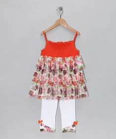 Take a look at this Orange Floral Smocked Tunic & Leggings - Girls by Kids Headquarters on #zulily today!
