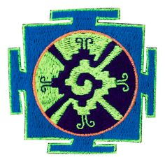 Blue Hunab Ku small embroidery patch inches for sew on - blacklight glowing Maya art for the center of our galaxy Embroidery Patches, Chicago Cubs Logo, Psychedelic, Maya, Glow, Lotus Mandala, How To Apply, Colours, Sewing