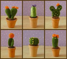 PDF PATTERN To Crochet 6 Miniature Amigurumi Cactus Plants. $6.50, via Etsy.