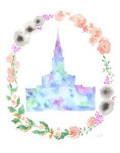 Houston, Texas LDS Temple floral watercolor