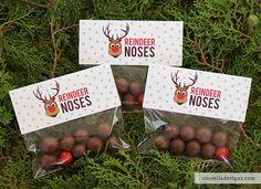 Free Printable – Reindeer Noses Bag Toppers