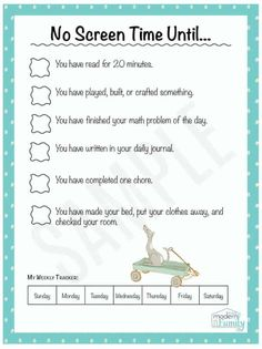 Family Chore Chart Printable Inspirational No Screen Time until Perfect for Kids Print This for Free Parenting Advice, Kids And Parenting, Gentle Parenting, Parenting Quotes, Parenting Classes, Parenting Styles, Teaching Kids, Kids Learning, Rules For Kids