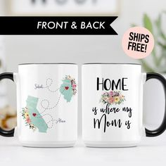 COFFEE MUG Gift, Home is where my Mom is Long Distance Mom Gift Custom State To State Mug, Sister Gift Mom, Going Away Gift Best Friends Mug by Socialholic on Etsy Best Friend Mug, Friend Mugs, Best Friend Gifts, Gifts For Friends, Gifts For Mom, Miss You Gifts, Going Away Gifts, Cards For Boyfriend, Long Distance Gifts