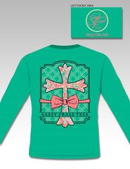 Sassy Frass Preppy Raegan Cross Bow Christian Comfort Colors Long Sleeve Bright Girlie T ShirtAvailable in sizes-  Adult S,M,L, XL,2X,3X