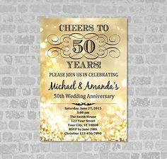Golden Wedding Anniversary Invitation, Gold Sparkle Glitter 50th Anniversary Invitation, Gold Bokeh Anniversary Invite, Cheers to 50 Years