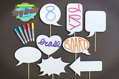 Dry Erase Photobooth Signs  8 Piece Wedding by PhotoBoothProp, $49.00