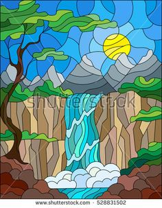 Illustration in stained glass style landscape ,the tree on the background of a waterfall, mountains, sun and sky with cherry blossoms in the foreground Faux Stained Glass, Stained Glass Designs, Stained Glass Patterns, Mosaic Art, Mosaic Glass, Glas Art, Illustration, Tree Designs, Landscape Art